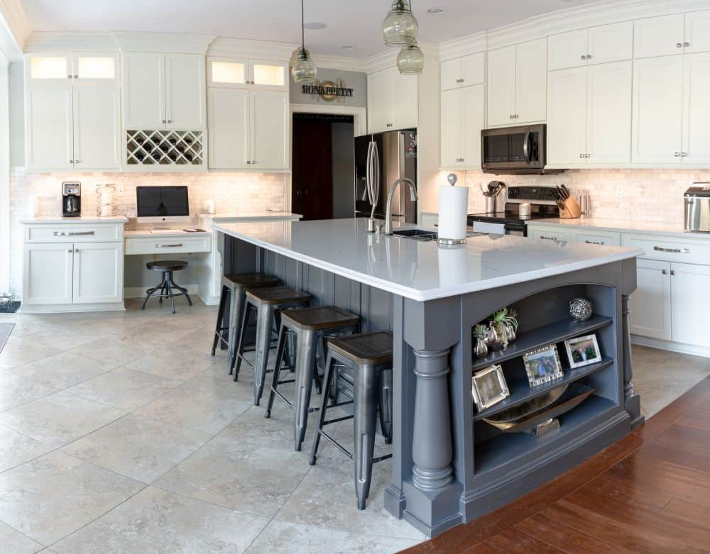 cream kitchen island cream kitchen with gray island lewis custom cabinets 6011